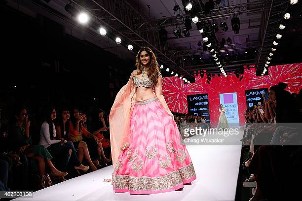 Ileana D'Cruz walks the runway during the Anrushree Reddy show on day 4 of Lakme Fashion Week Summer/Resort 2015 at Palladium Hotel on March 21 2015...