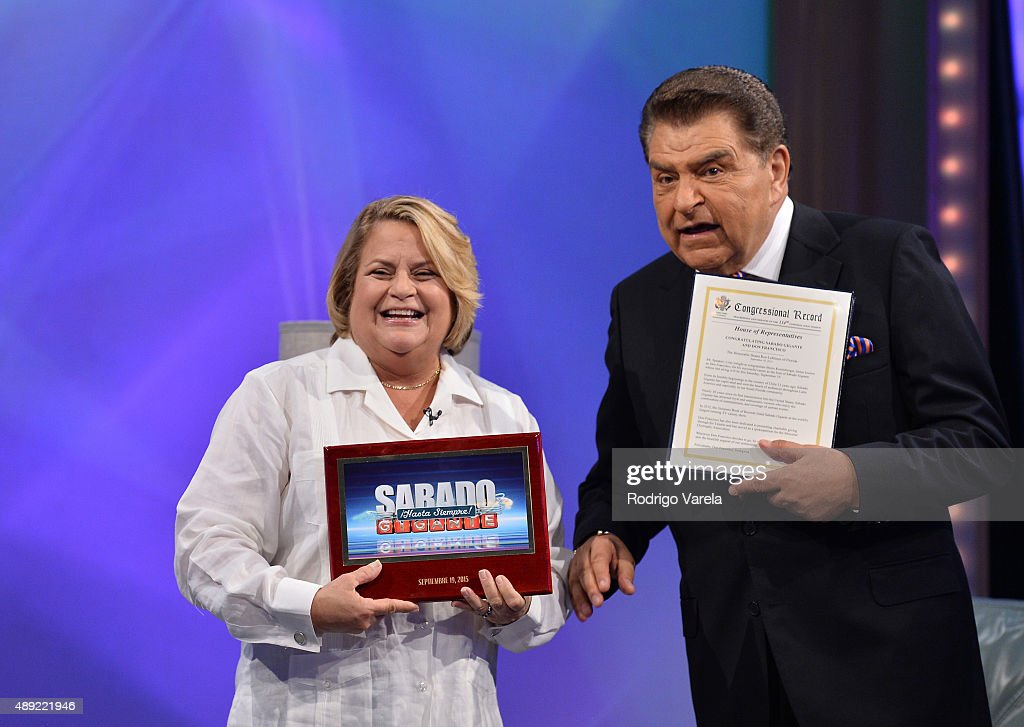 Ileana Ros-Lehtinen and Don Francisco speak onstage at Univision's 'Sabado Gigante' Finale at Univision Studios on September 19, 2015 in Miami, Florida.