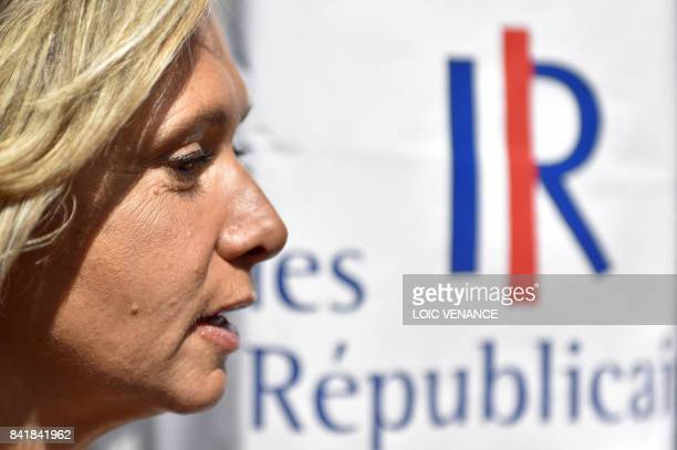 IledeFrance regional president Valerie Pecresse speaks to the press during the 'summer days' conference of France's rightwing Les Republicains party...