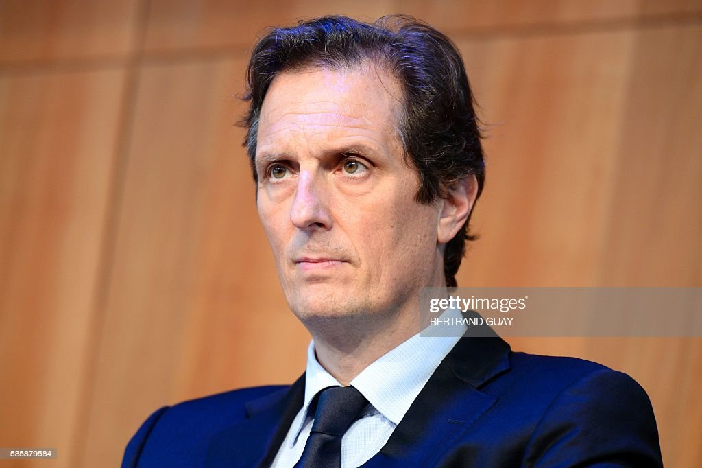 Ile-de-France region's 1st vice-president Jerome Chartier attends a press conference about tourism in Paris on May 30, 2016 in Paris. / AFP / BERTRAND
