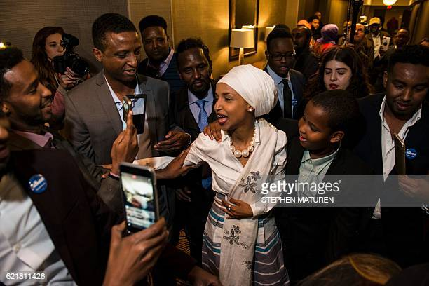 Ilhan Omar candidate for State Representative for District 60B in Minnesota arrives for her victory party on election night November 8 2016 in...