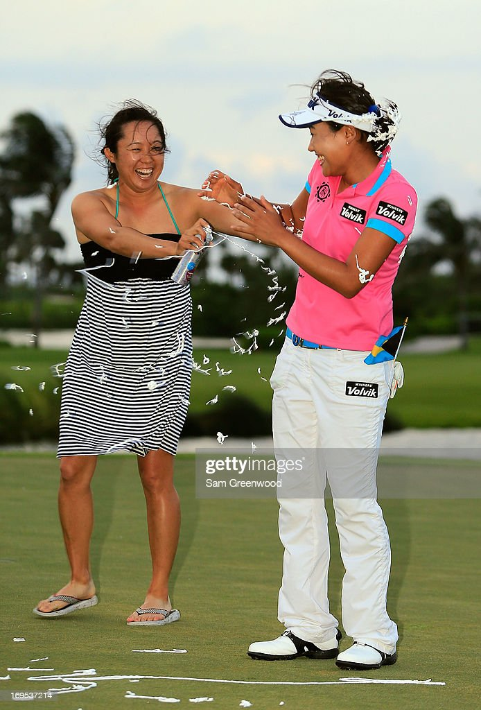Ilhee Lee of South Korea gets sprayed with shaving cream after winning the Pure Silk-Bahamas LPGA Classic at the Ocean Club course on May 26, 2013 in Paradise Island, Bahamas.