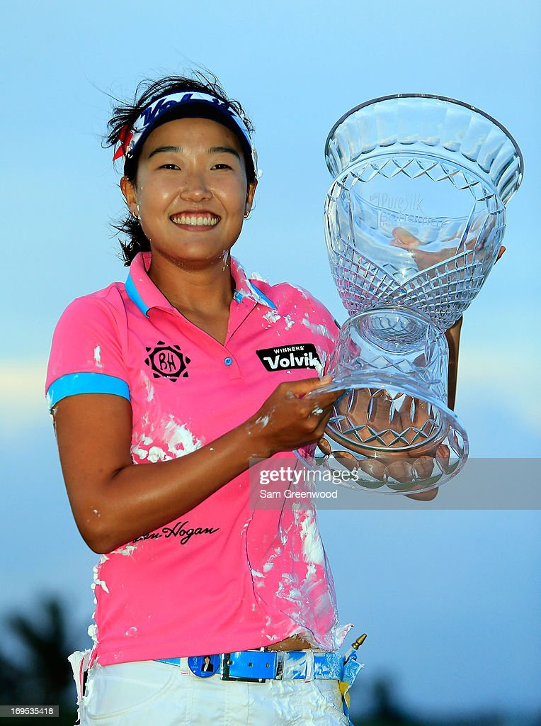 Ilhee Lee of South Korea holds the trophy after winning the Pure Silk-Bahamas LPGA Classic at the Ocean Club course on May 26, 2013 in Paradise Island, Bahamas.