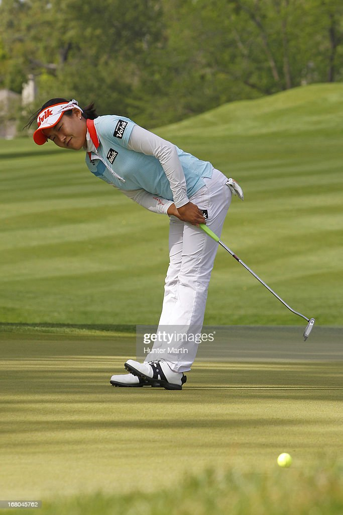 Ilhee Lee of South Korea reacts to missing her eagle putt on the 15th hole during the third round of the Kingsmill Championship at Kingsmill Resort on May 4, 2013 in Williamsburg, Virginia.