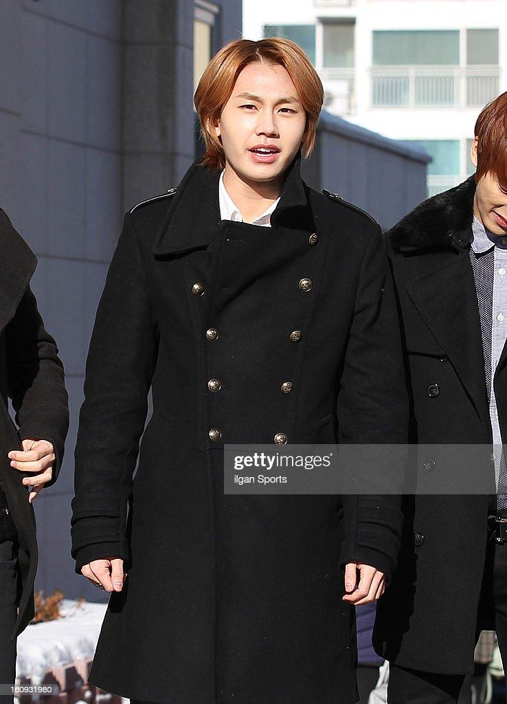 Il-Hoon of BTOB poses during Hanlim Multi Art School Graduation on February 7, 2013 in Seoul, South Korea.