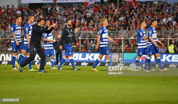 Ilia Gruev head coach of Duisburg shouts at the Duisburg fans after the Second Bundesliga Play Off first leg match between Wuerzburger Kickers and...