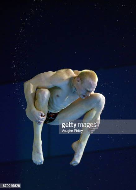 Ilia Zakharov of Russia competes in the Men's 3m Final during the 2017 FINA Diving World Series at the Windsor International Aquatic and Training...