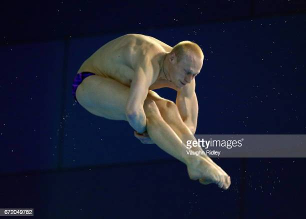 Ilia Zakharov of Russia competes in the Men's 3m Semifinal B during the 2017 FINA Diving World Series at the Windsor International Aquatic and...