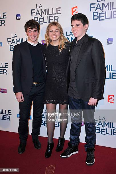 Ilian Bergala Louane Emera and Luca Gelberg attend the 'La Famille Belier' Paris Premiere at Le Grand Rex on December 9 2014 in Paris France