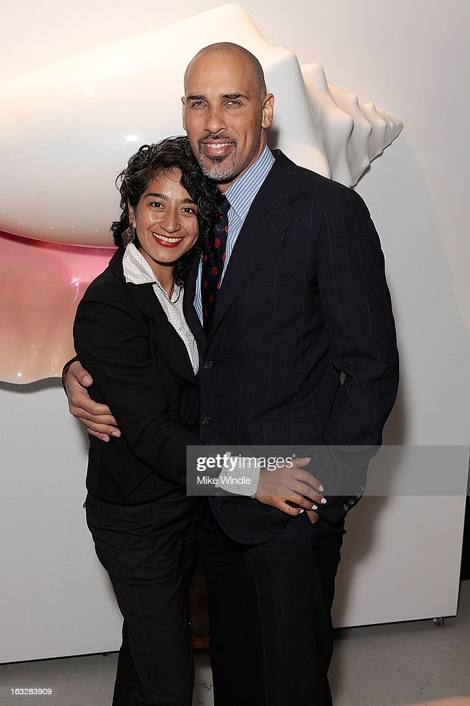Iliana de Boisblanc and Dallas Reeves attend the Kathy Taslitz 'Just Visiting' exhibition and reception benefiting P.S. Arts on March 6, 2013 in Los Angeles, California.