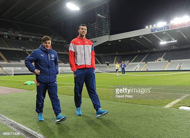 Ilias Chatzitheodoridis and Dejan Iliev of Arsenal before the Barclays U21 Premier Leaguematch between Newcastle United and Arsenal at St James Park...