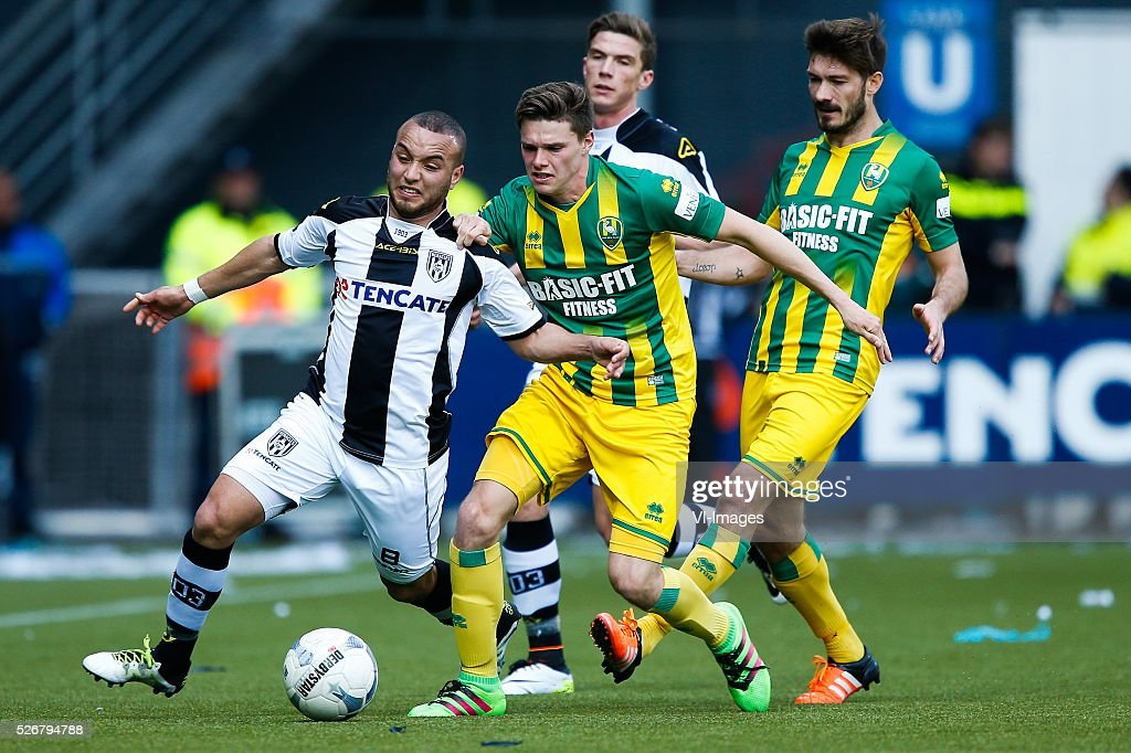 Iliass Bel Hassani of Heracles Almelo, Danny Bakker of ADO Den Haag, Robin Gosens of Heracles Almelo, Edouard Duplan of ADO Den Haag during the Dutch Eredivisie match between Heracles Almelo and ADO Den Haag at Polman stadium on May 01, 2016 in Almelo, The Netherlands