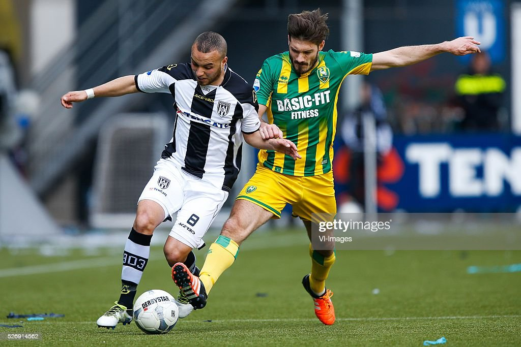 Iliass Bel Hassani of Heracles Almelo, Edouard Duplan of ADO Den Haag during the Dutch Eredivisie match between Heracles Almelo and ADO Den Haag at Polman stadium on May 01, 2016 in Almelo, The Netherlands