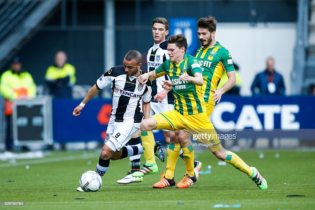 Iliass Bel Hassani of Heracles Almelo, Robin Gosens of Heracles Almelo, Danny Bakker of ADO Den Haag, Edouard Duplan of ADO Den Haag during the Dutch Eredivisie match between Heracles Almelo and ADO Den Haag at Polman stadium on May 01, 2016 in Almelo, The Netherlands