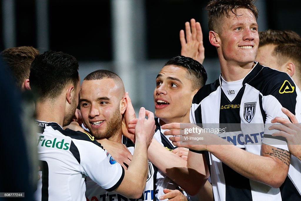 Iliass Bel Hassani of Heracles Almelo, Wout Weghorst of Heracles Almelo during the Dutch Eredivisie match between Heracles Almelo and PEC Zwolle at Polman stadium on February 06, 2016 in Almelo, The Netherlands
