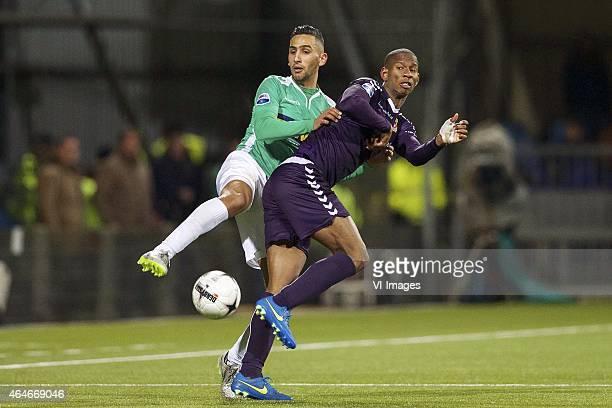 Iliass Haddad of FC Dordrecht Glynor Plet of Go Ahead Eagles during the Dutch Eredivisie match between FC Dordrecht and Go Ahead Eagles at the Riwal...