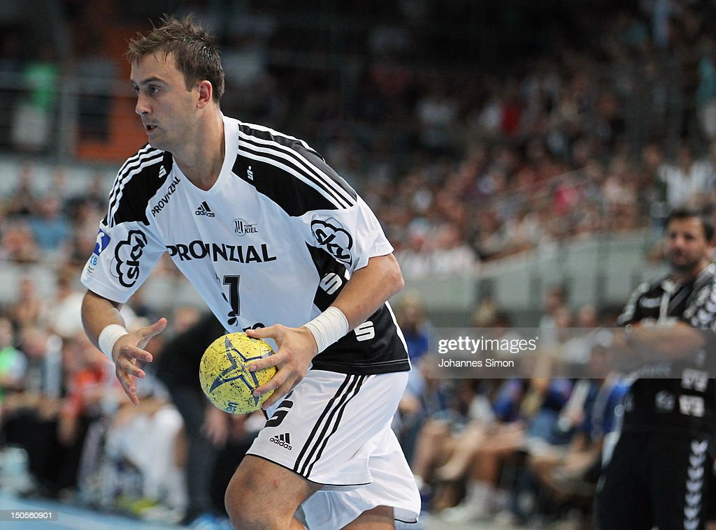 Ilic Momir of Kiel in action during the Handball Supercup match between THW Kiel and SG Flensburg Handewitt at Olympia Eishalle on August 21, 2012 in Munich, Germany.