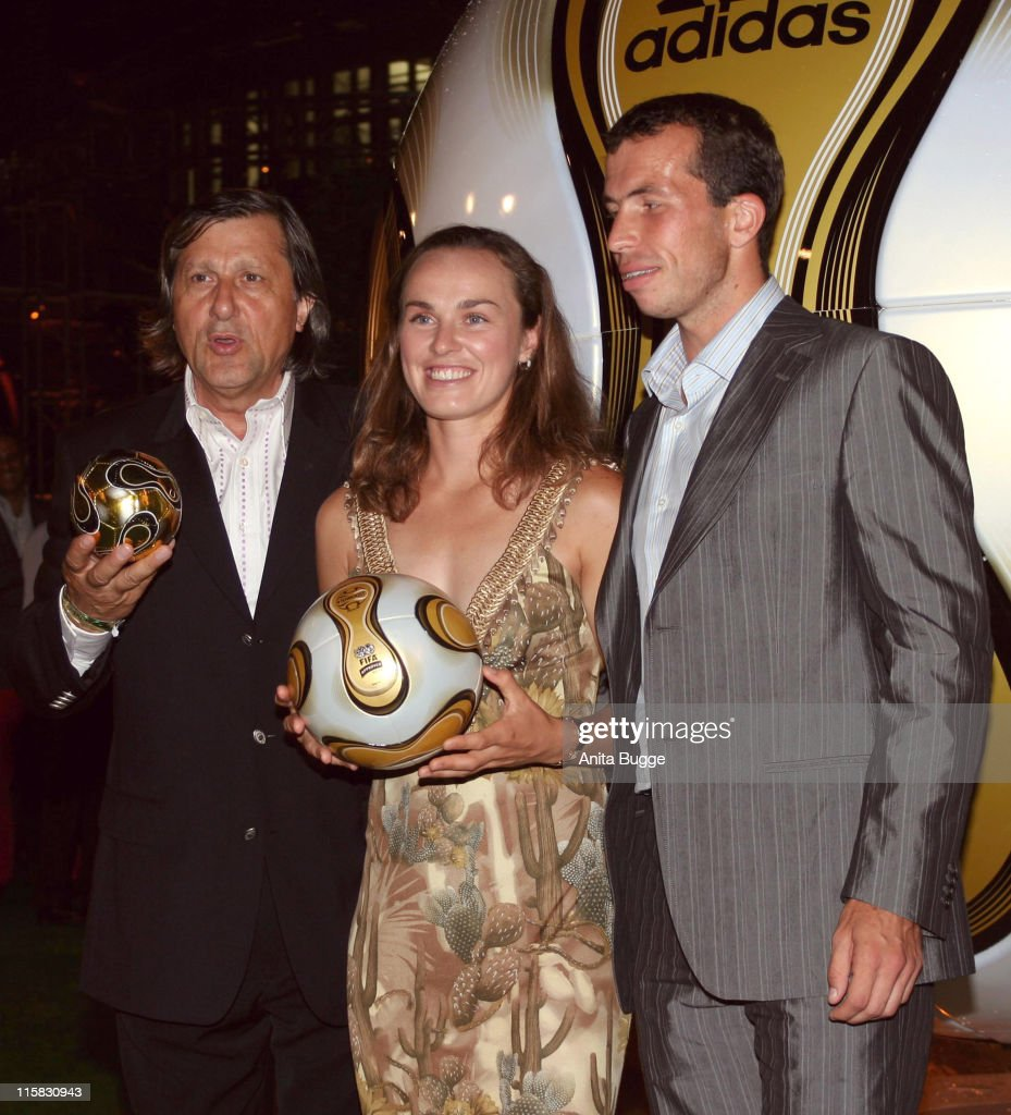Ilie Nastase, Martina Hingis and Radek Stepanek during Adidas and Jamiroquai Event - Green Carpet in Berlin, Berlin, Germany.