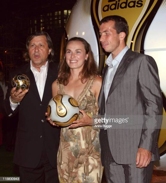 Ilie Nastase Martina Hingis and Radek Stepanek during Adidas and Jamiroquai Event Green Carpet in Berlin Berlin Germany