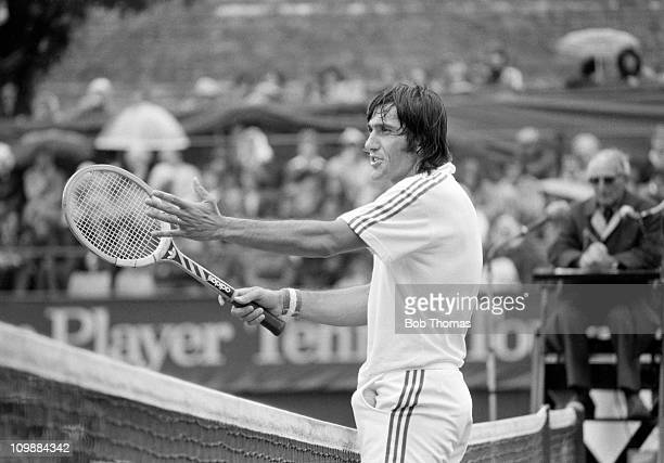 Ilie Nastase of Romania playing in a John Player tennis match in Nottingham in 1976