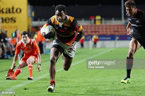 Iliesa Ratuva Tavuyara score a try fro Waikato during the round seven Mitre 10 Cup match between Waikato and Canterbury on September 28 2016 in...
