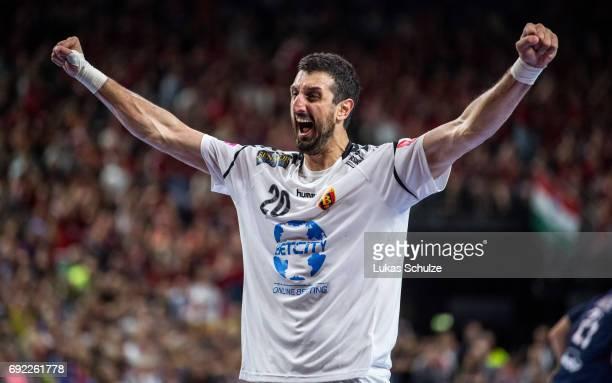 Ilija Abutovic of Vardar reacts after winning the VELUX EHF FINAL4 Final match between Paris SaintGermain Handball and HC Vardar at Lanxess Arena on...