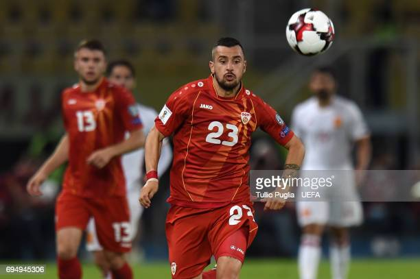 Ilija Nestorovski of FYR Macedonia in action during the FIFA 2018 World Cup Qualifier between FYR Macedonia and Spain at Nacional Arena Filip II...
