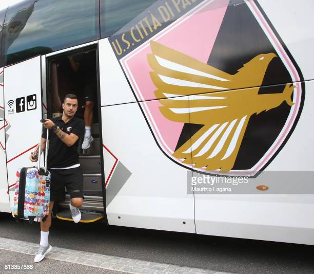 Ilija Nestorovski of Palermo arrives at the hotel during training session camp on July 12 2017 in Bad Kleinkirchheim Austria