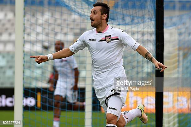 Ilija Nestorovski of Palermo celebrates after scoring the equalizing goal during the Serie A match between FC Crotone and US Citta di Palermo at...