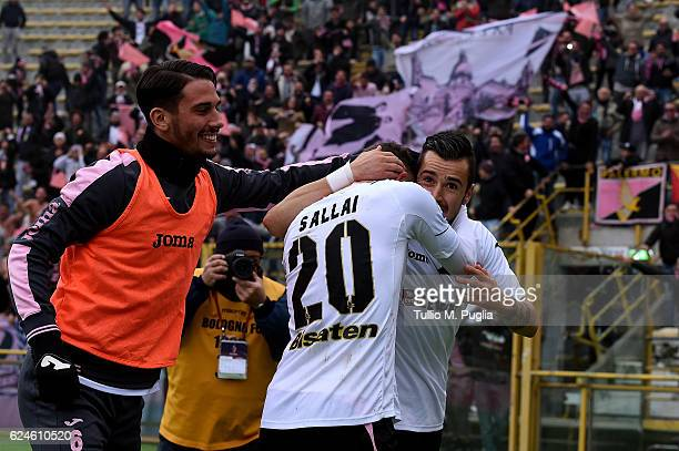 Ilija Nestorovski of Palermo celebrates after scoring the opening goal during the Serie A match between Bologna FC and US Citta di Palermo at Stadio...