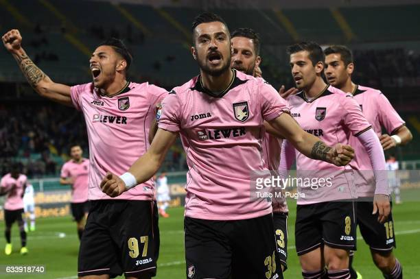 Ilija Nestorovski of Palermo celebrates after scoring the opening goal during the Serie A match between US Citta di Palermo and FC Crotone at Stadio...