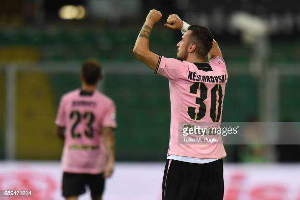 Ilija Nestorovski of Palermo celebrates after scoring the opening goal during the Serie A match between US Citta di Palermo and Empoli FC at Stadio...