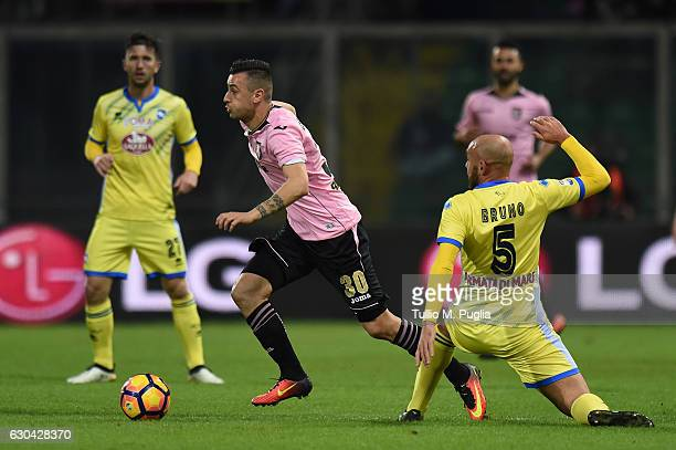 Ilija Nestorovski of Palermo in action as Alessandro Bruno of Pescara tacklesduring the Serie A match between US Citta di Palermo and Pescara Calcio...