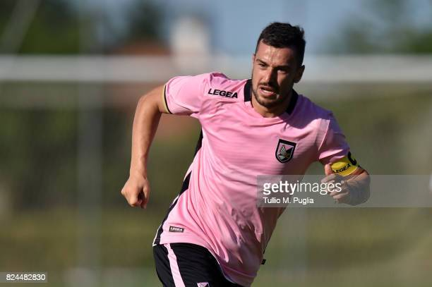 Ilija Nestorovski of Palermo in action during a friendly match between US Citta' di Palermo and Monreale at Carmelo Onorato training center on July...