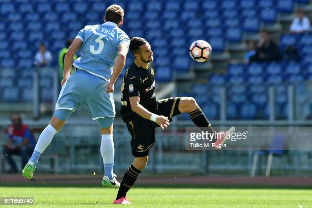 Ilija Nestorovski of Palermo is challenged by Stefan De Vrij of Lazio during the Serie A match between SS Lazio and US Citta di Palermo at Stadio...