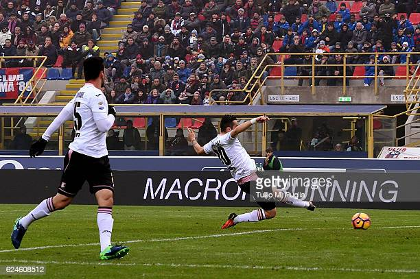 Ilija Nestorovski of Palermo scores the opening goal during the Serie A match between Bologna FC and US Citta di Palermo at Stadio Renato Dall'Ara on...