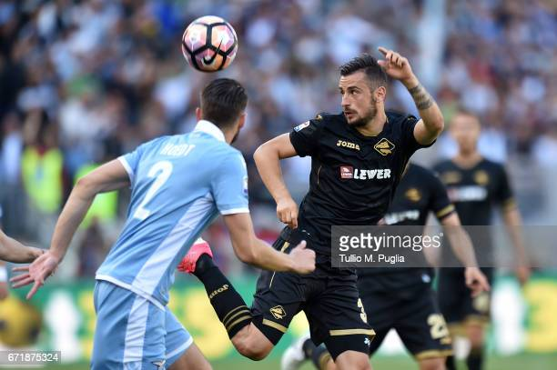 Ilija Nestorovski of Palermoi in action during the Serie A match between SS Lazio and US Citta di Palermo at Stadio Olimpico on April 23 2017 in Rome...