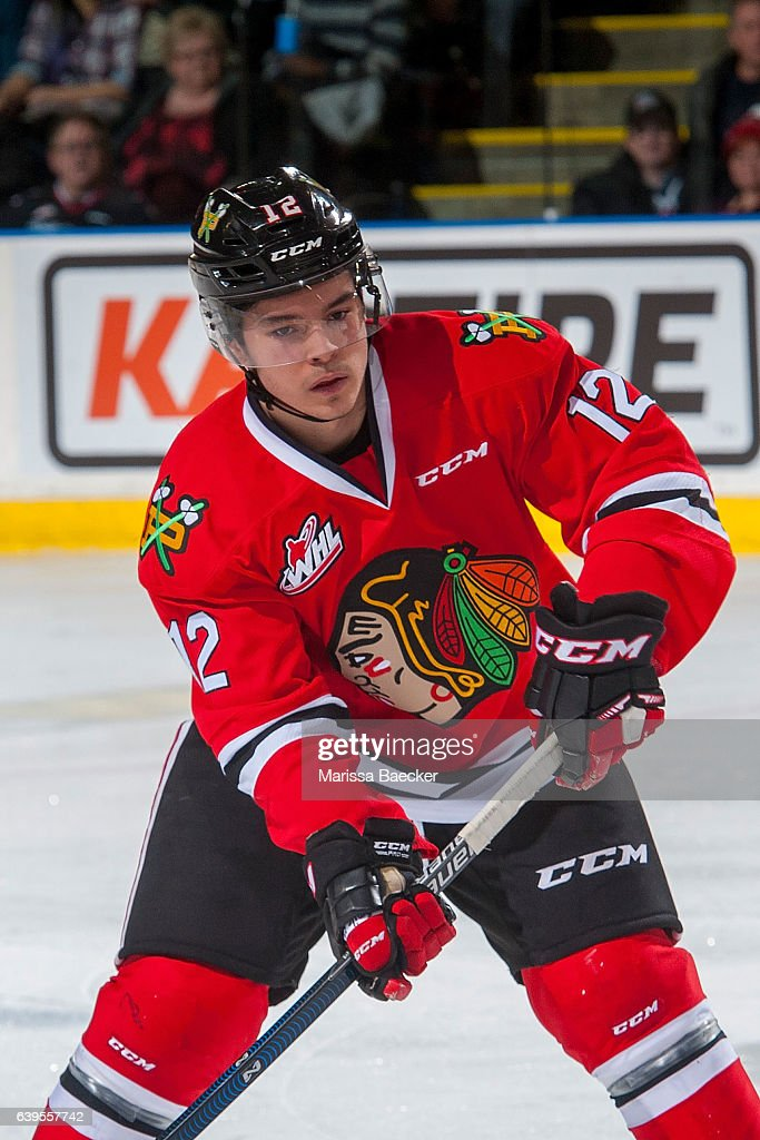 Ilijah Colina #12 of the Portland Winterhawks looks for the pass against the Kelowna Rockets on January 21, 2017 at Prospera Place in Kelowna, British Columbia, Canada.