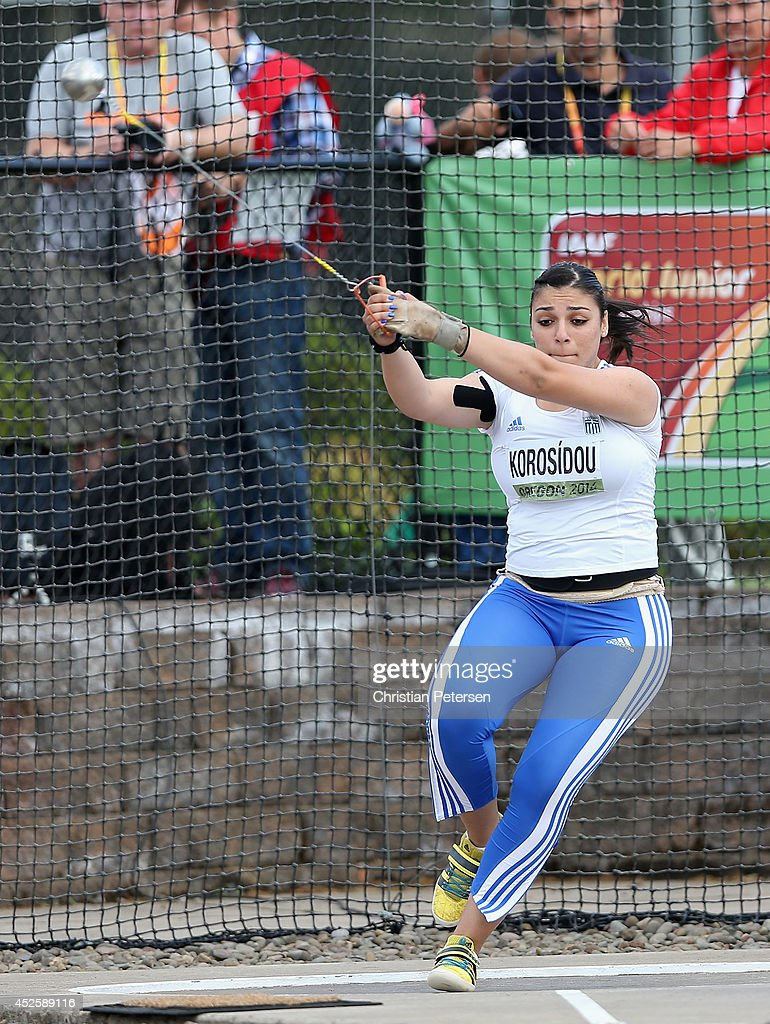 Iliána Korosídou of Greece competes in the women's hammer throw final during day two of the IAAF World Junior Championships at Hayward Field on July...