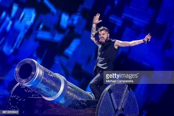 Ilinca and Alex Florea representing Romania perform the song 'Yodel It' during the rehearsal for the second semi final of the 62nd Eurovision Song...