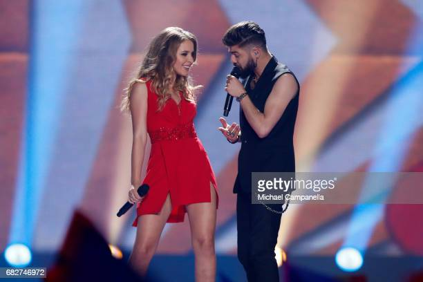 Ilinca and Alex Florea representing Romania perform the song 'Yodel It' during the final of the 62nd Eurovision Song Contest at International...