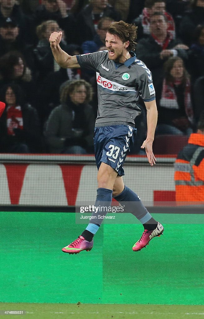 Ilir Azemi of Fuerth celebrates after scoring during the 2nd Bundesliga match between 1. FC Koeln and Greuther Fuerth at RheinEnergieStadion on February 24, 2014 in Cologne, Germany.