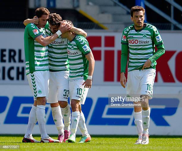 Ilir Azemi of Greuther Fuerth celebrates with team mates after scoring his team's first goal during the Second Bundesliga match between SC Paderborn...