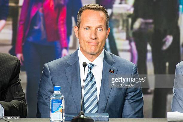 Ilitch Holdings President and CEO Christopher Ilitch smiles during a press conference to announce that the Detroit Pistons will move to downtown...