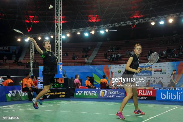Iliyan Stoynov and Hristomira Popovska of Bulgaria compete against Lu Chen and Lin Jhih Yun of Chinese Taipei during Mixed Double qualification round...