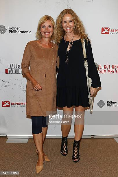 Ilka Essmueller and Katja Burkard arrive for the Ballet Revolucion show premiere at the Philharmonie on July 13 2016 in Cologne Germany