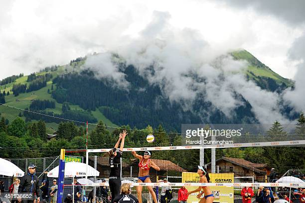 Ilka Semmler of Germany Katrin Holtwick of Germany and Xinyi Xia of China and Yuanyuan Ma of China in action during the women main draw match...