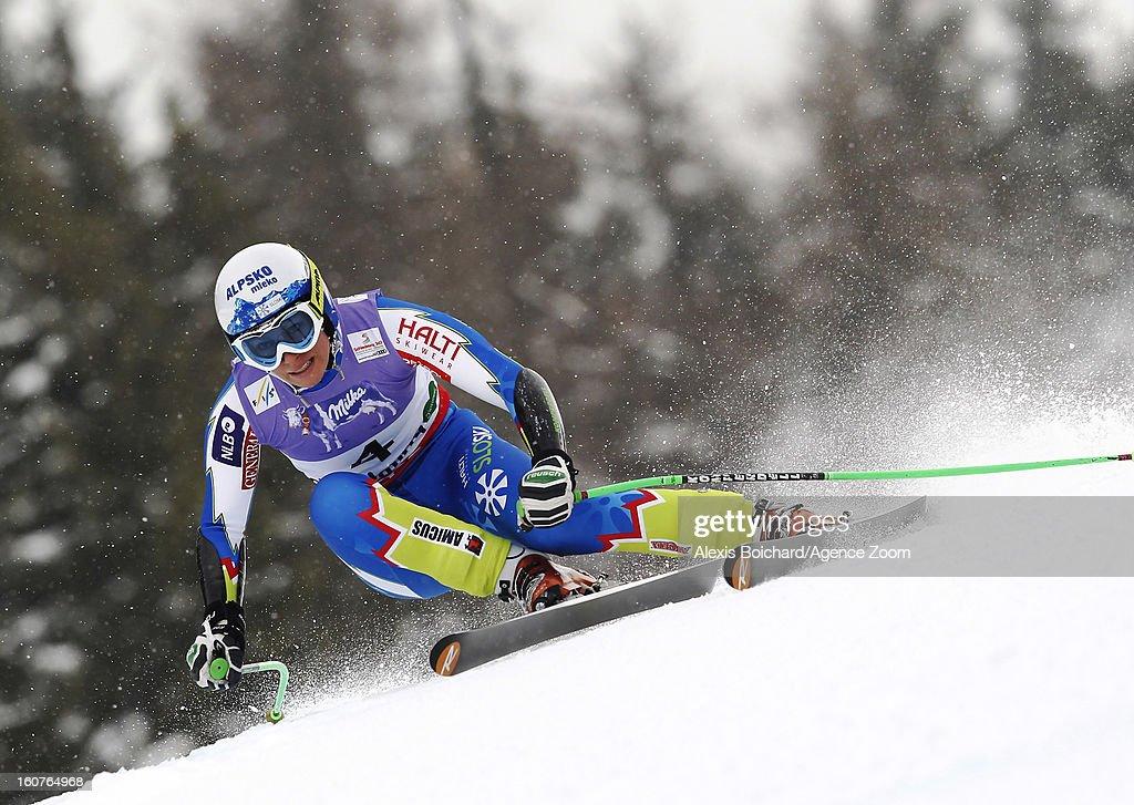 Ilka Stuhec of Slovenia competes during the Audi FIS Alpine Ski World Championships Women's SuperG on February 05, 2013 in Schladming, Austria.