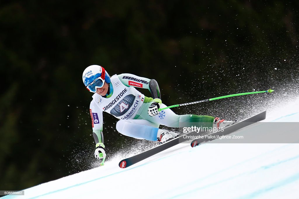 Ilka Stuhec of Slovenia competes during the Audi FIS Alpine Ski World Cup Women's Super G on January 07, 2016 in Garmisch-Partenkirchen, Germany.