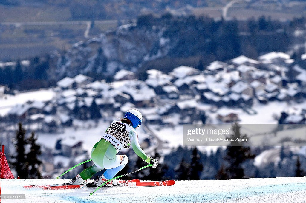 Ilka Stuhec of Slovenia competes during the Audi FIS Alpine Ski World Cup Women's Downhill Training on February 11, 2016 in Crans Montana, Switzerland.